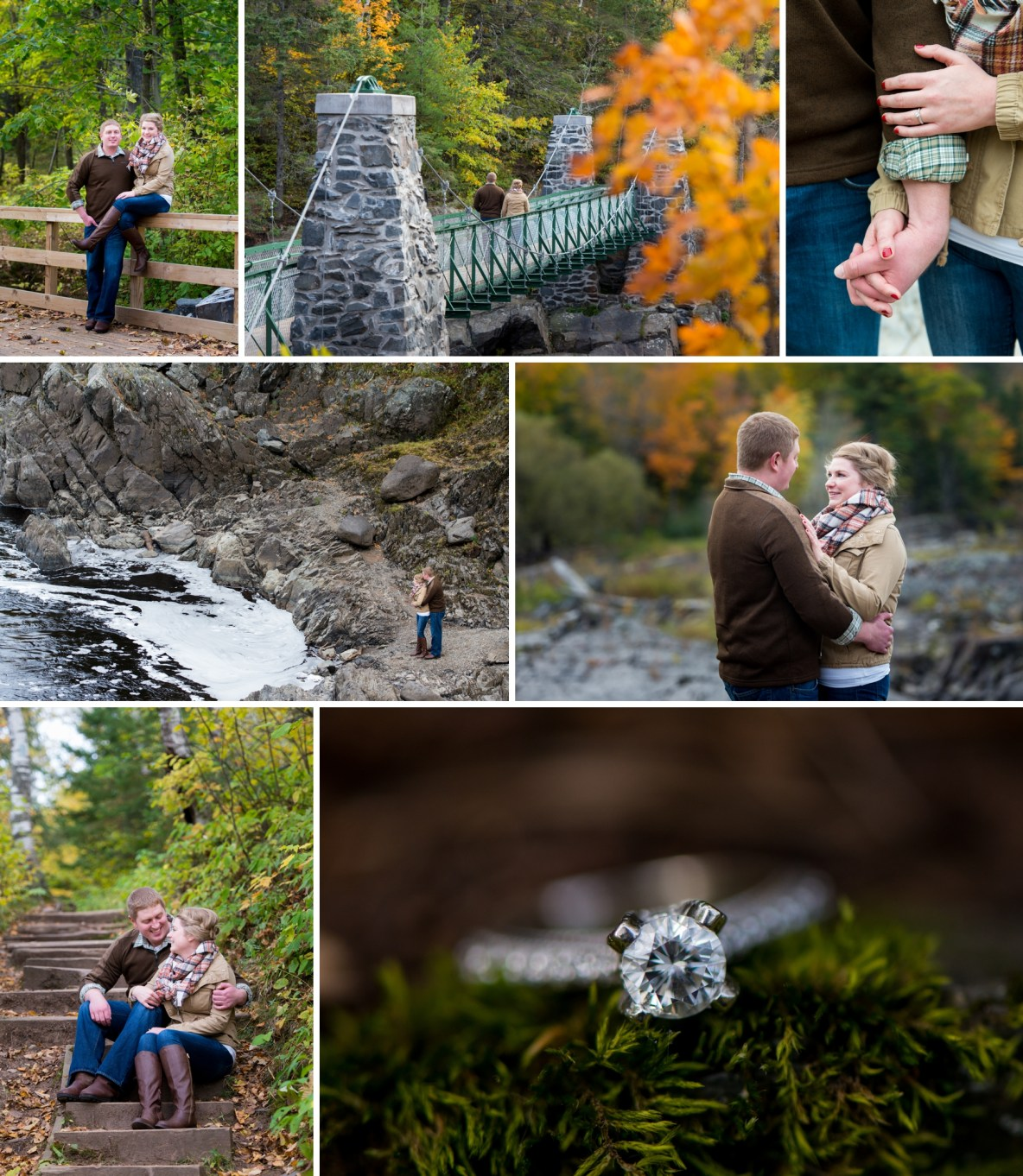 Fall colors engagement session at Jay Cooke State Park in MN by Bryan Jonathan Weddings.