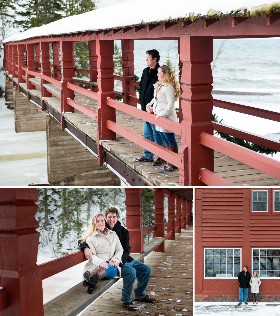 Winter engagement photography on the North Shore of Lake Superior at Lutsen Mountain, MN.