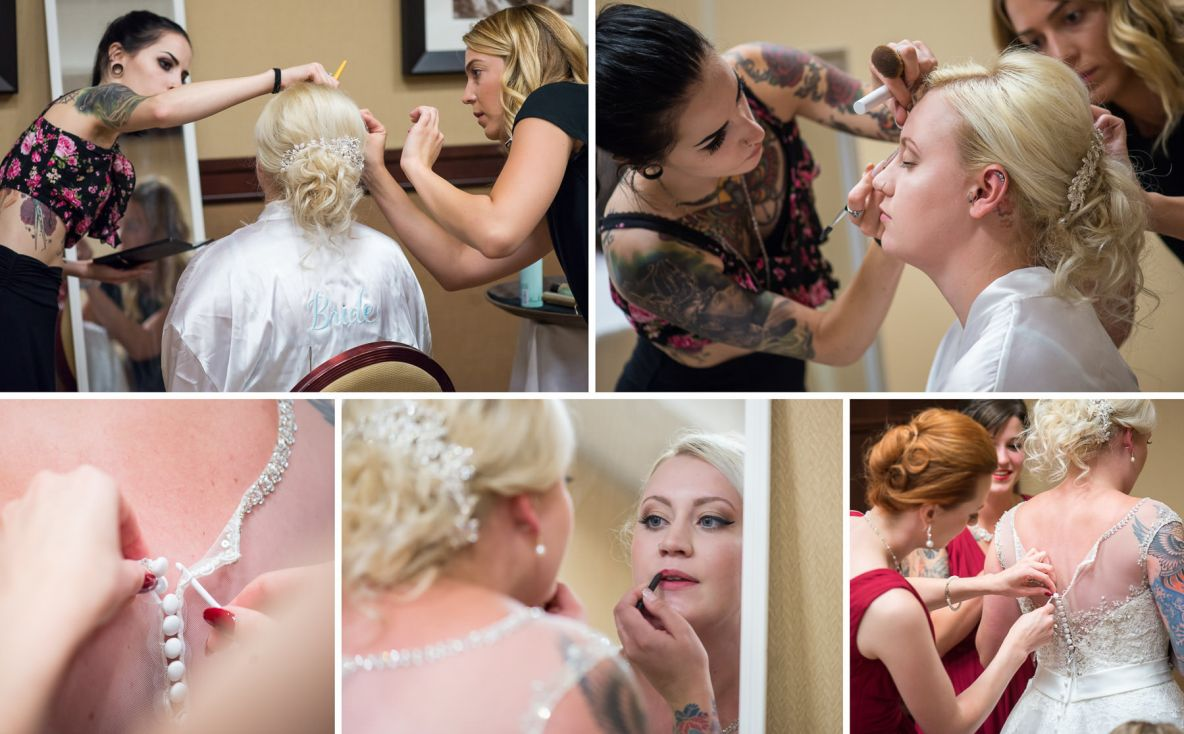 Adding the finishing touches for the perfect bridal look.