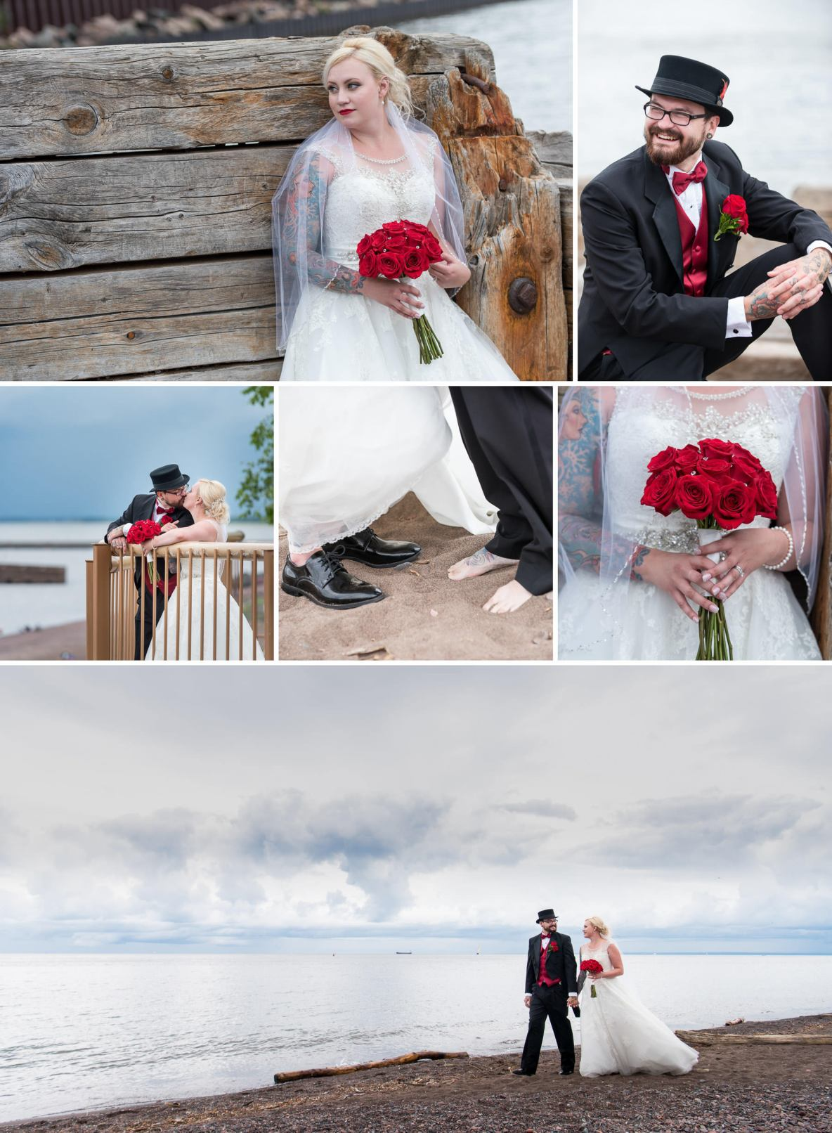 Wedding day moments near Lake Superior.