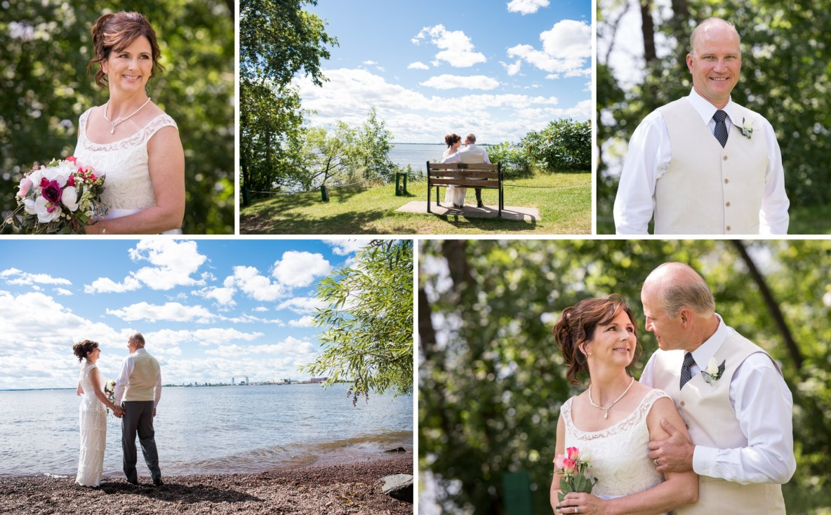 The newlyweds at Leif Erickson Park near the Aerial Lift Bridge.