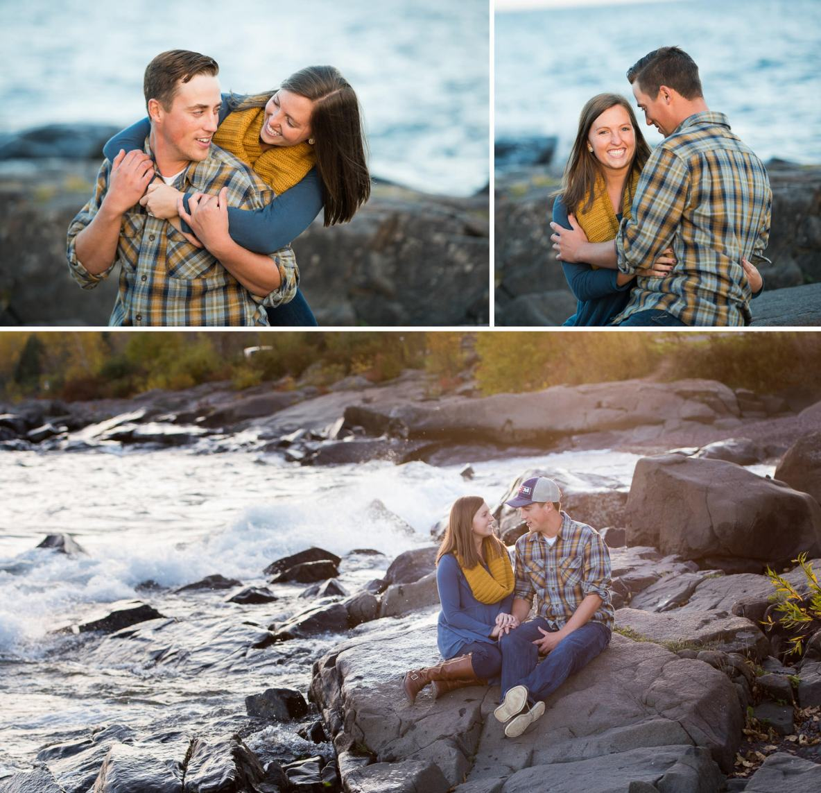 Engagement couple photos with running water in the background.