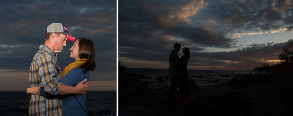 Engagement couple photo at dusk beside the lake.