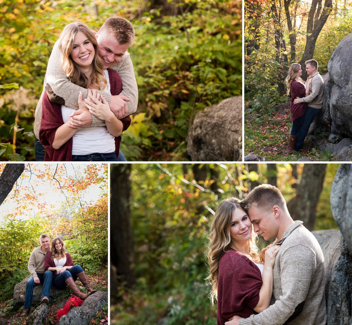 Engagement couple photos in fall colors; nature shot with trees and rocks.