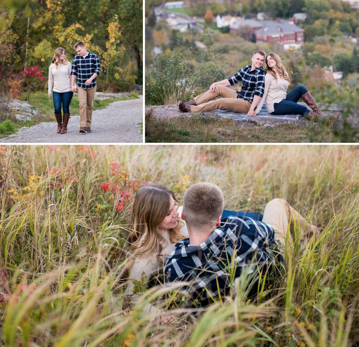 Engagement couple photos in long grass; walking photos in nature.
