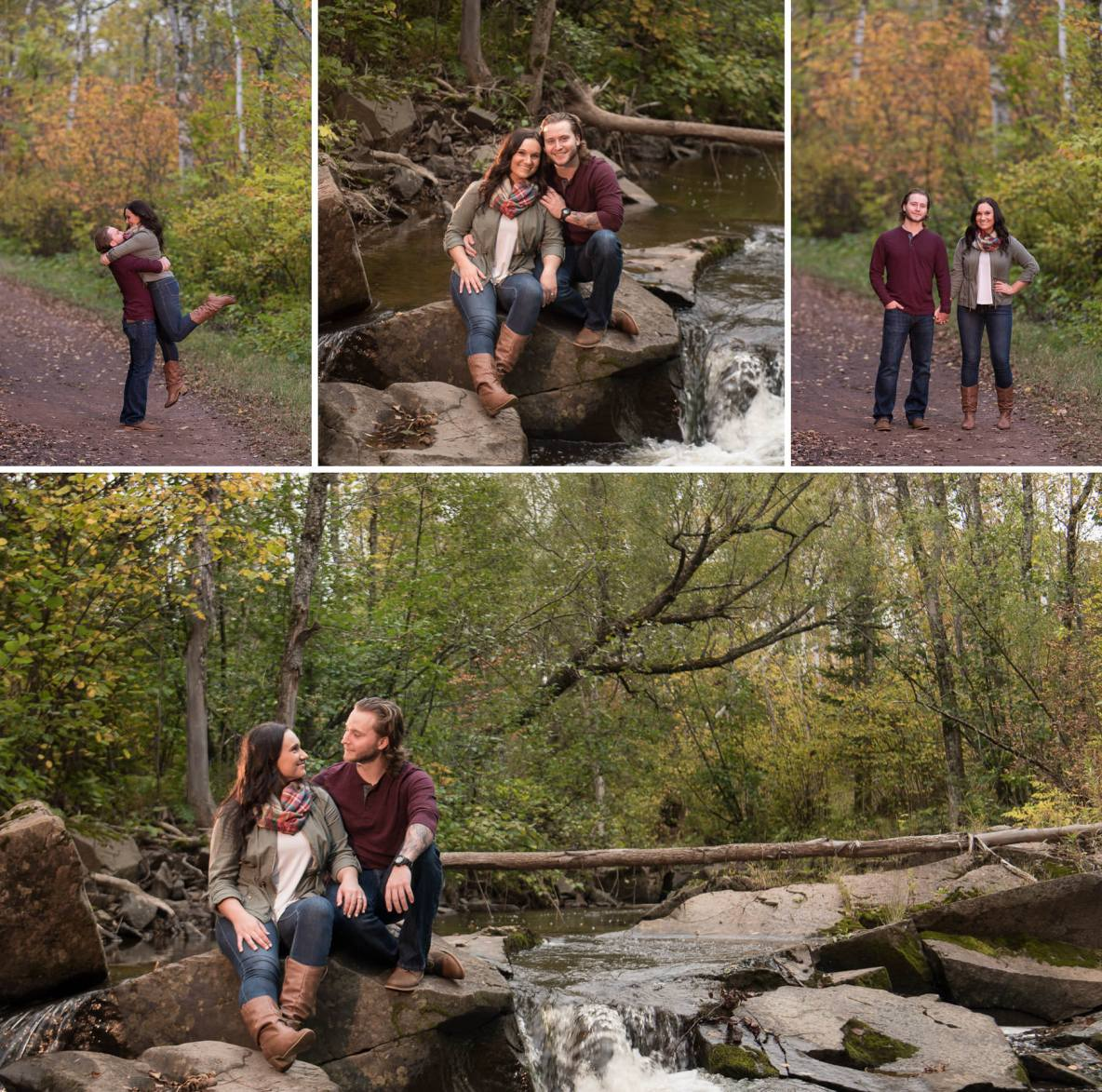 Engagement photos at Hawk Ridge and Amity Creek in Duluth, MN.