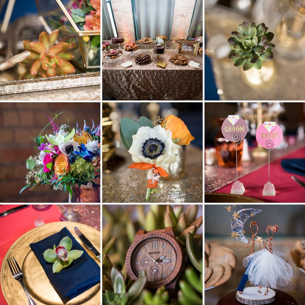 Collage of various wedding flowers, gifts and pastries.