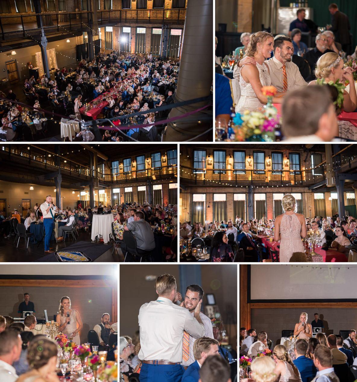 Collage of wedding reception photos including photos of the wedding speeches.