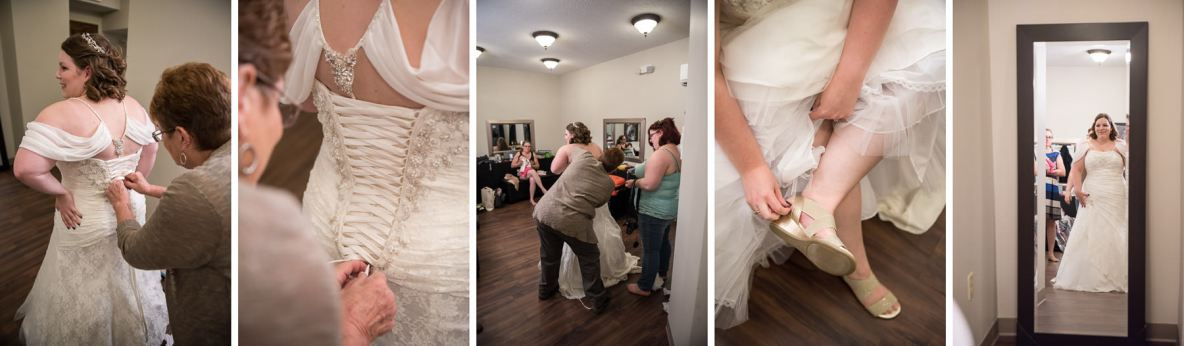 Bride getting ready photos, dress gets fastened and shoes put on.