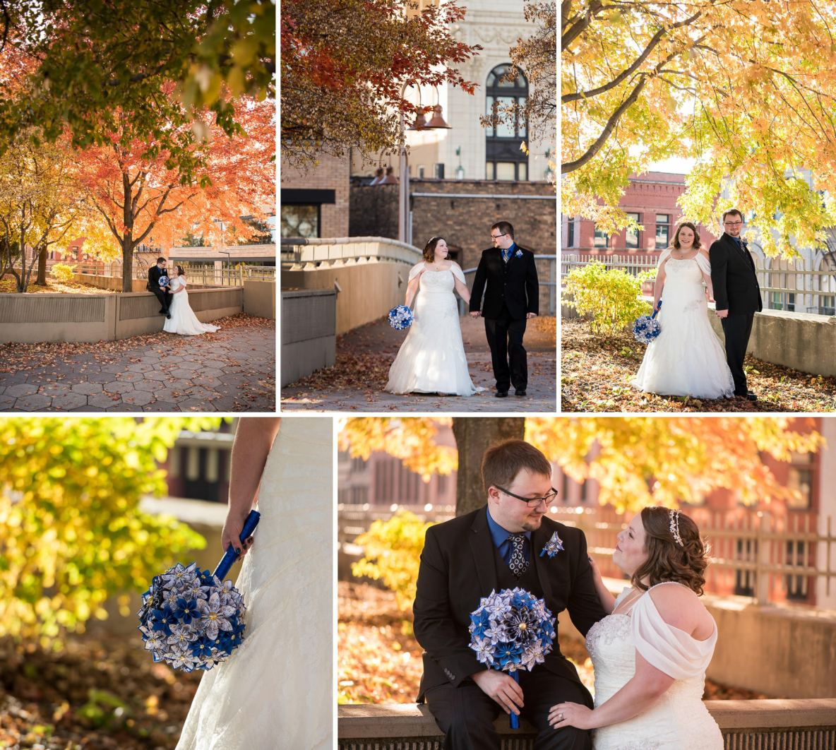 Bride and groom portrait outside in fall colors.