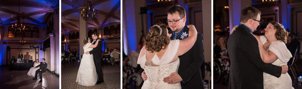 Photos of the couple dancing at indoor reception with blue and purple lights in background.
