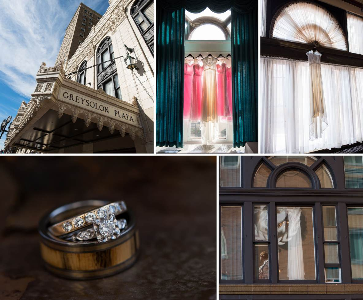 Photos of the Greysolon Plaza, the bride and bridesmaid's dresses, and the rings.
