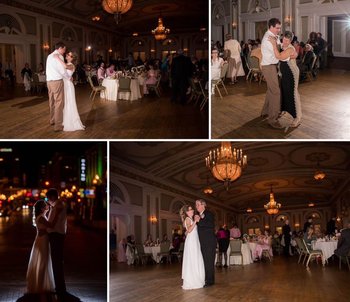 Photos of the indoor dance, and a shot of the couple outside on the streets of the city with lights in background.