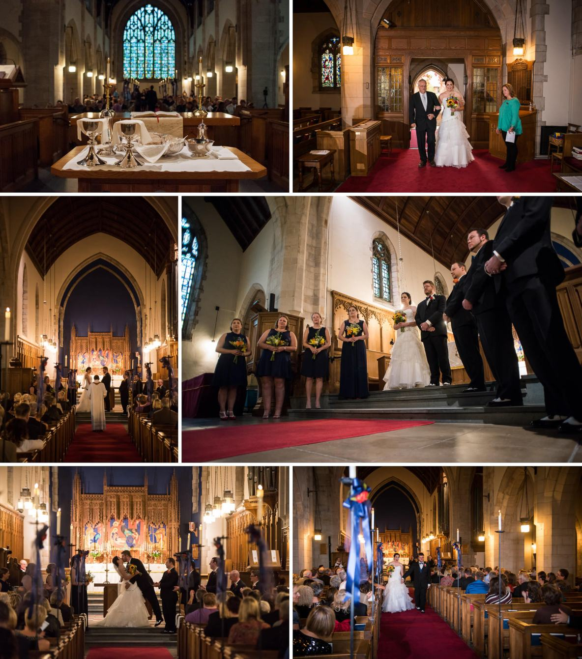 Photos of the wedding ceremony inside candle lit church.