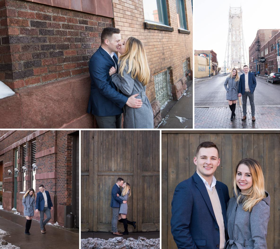 Newly engaged couple in Duluth, MN with bridge in background.