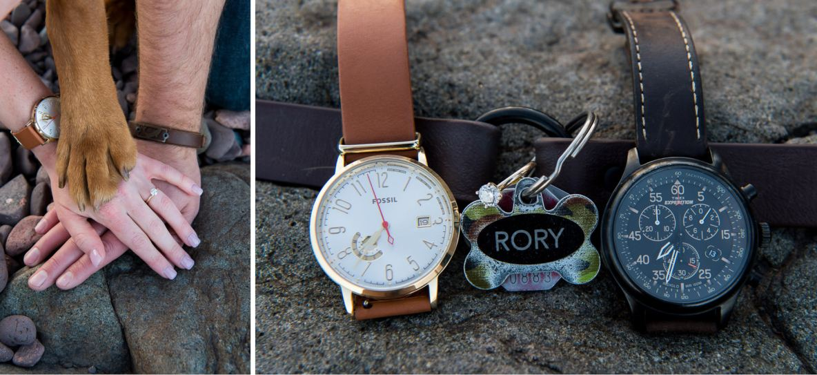 Engagement photos with diamond ring, dog collar, and watches.