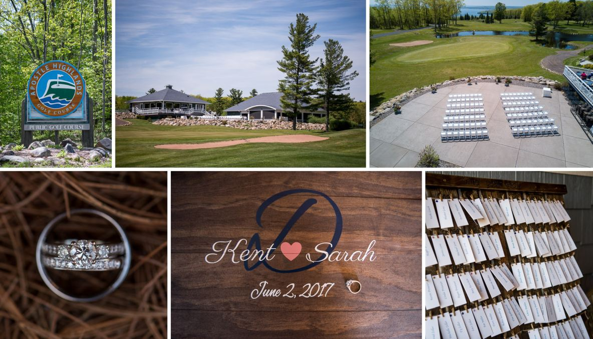 Photos of golf course wedding venue, details of ring and shots outside of green grass.