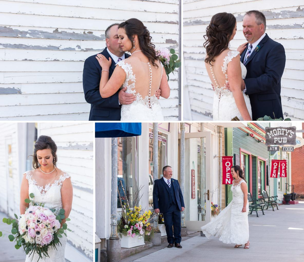 Bride and groom portraits outside in front of old building in Bayfield, WI.