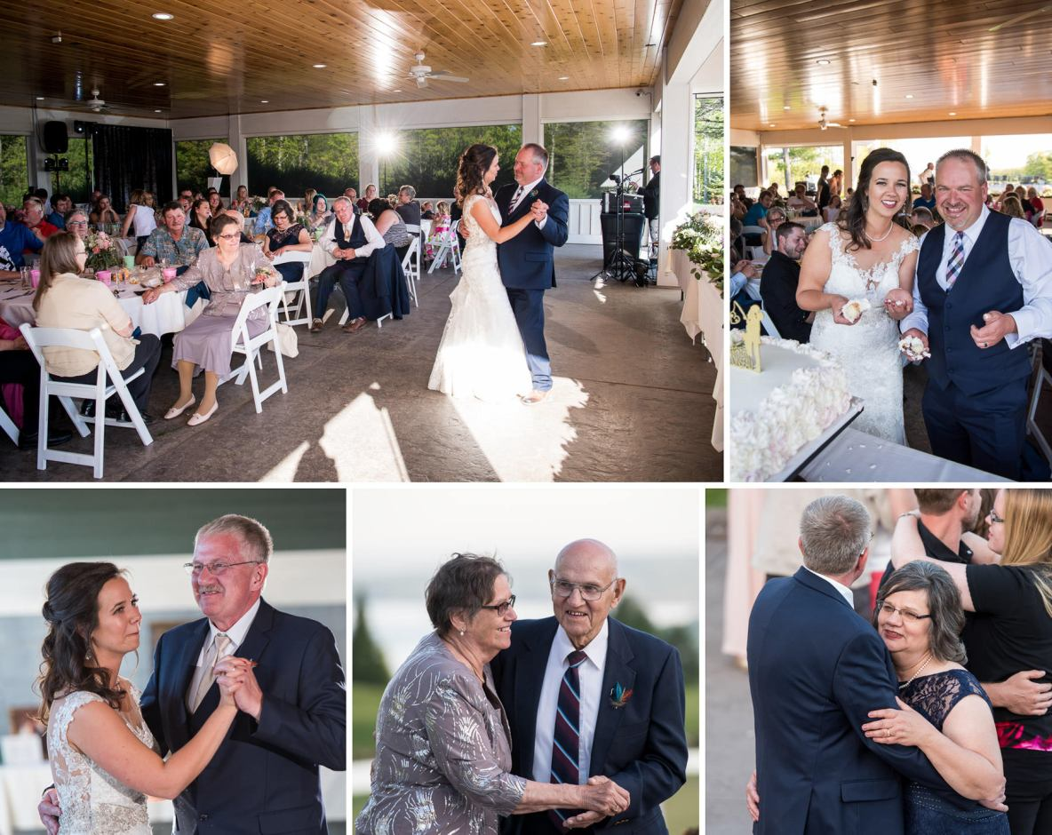 Photos of the indoor wedding dance, bride and groom photos included.