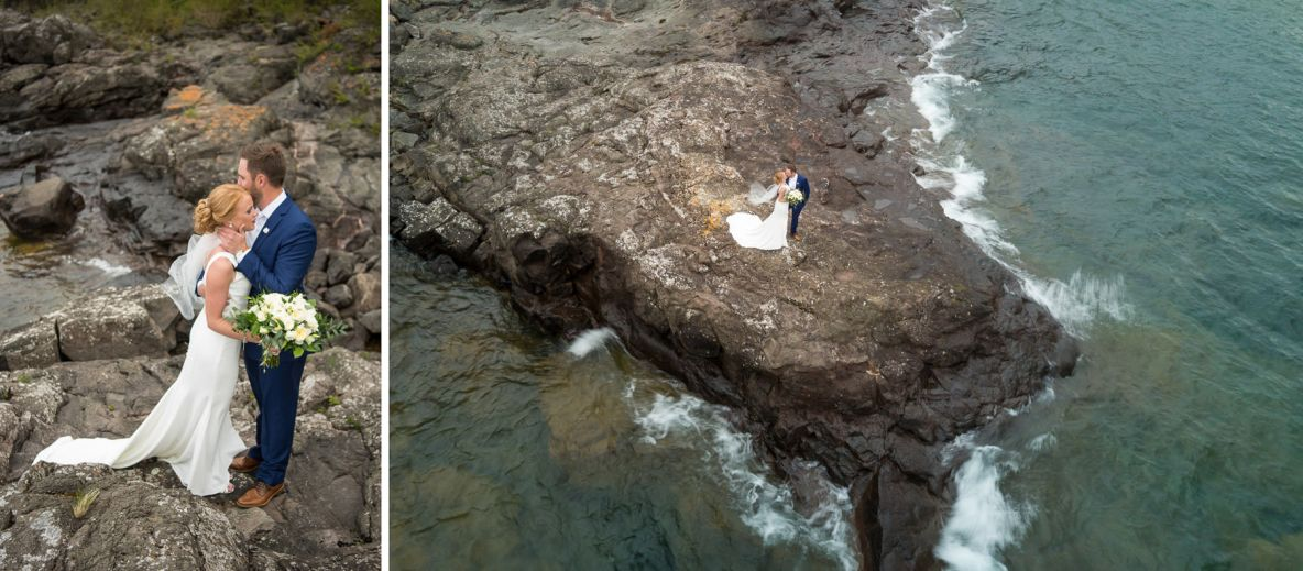 Photos of the bride and groom by the lake, including an overhead shot.