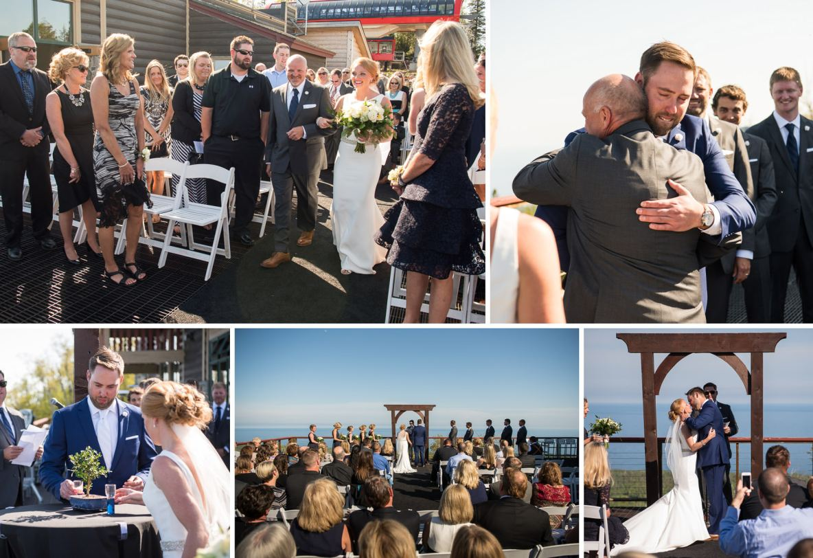 Outdoor wedding ceremony by Lake Superior.