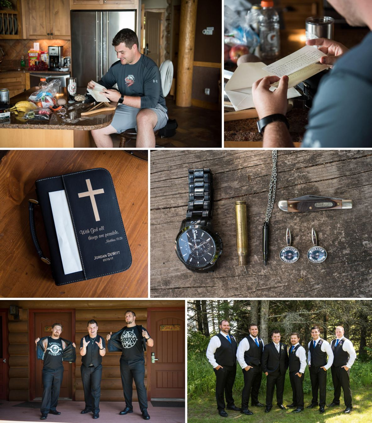 Groomsmen photo outside, as well as photos of sentimental items, including grandfather's pocketknife and shell casing.