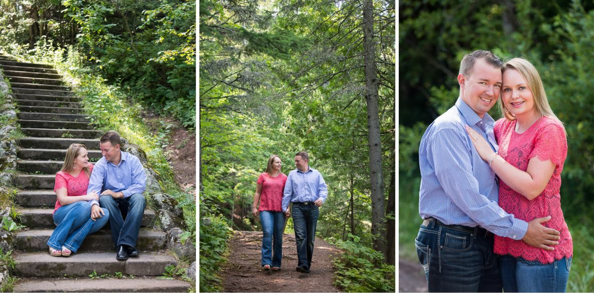 Couple photos in wooded area, photos on stairs and on trail with green trees in background.