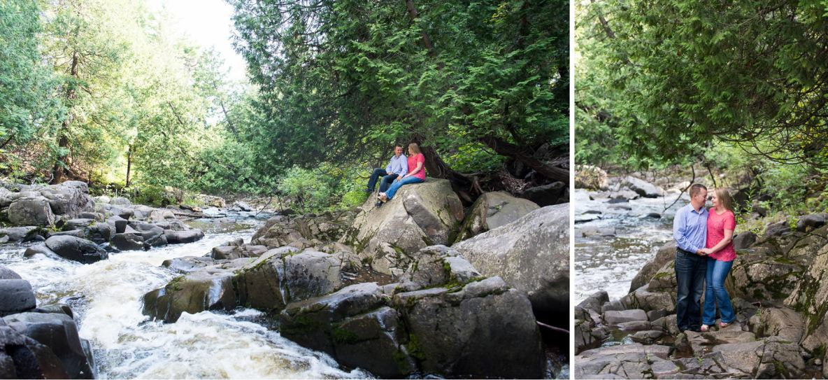 Couple photos near waterfall, green trees in background.