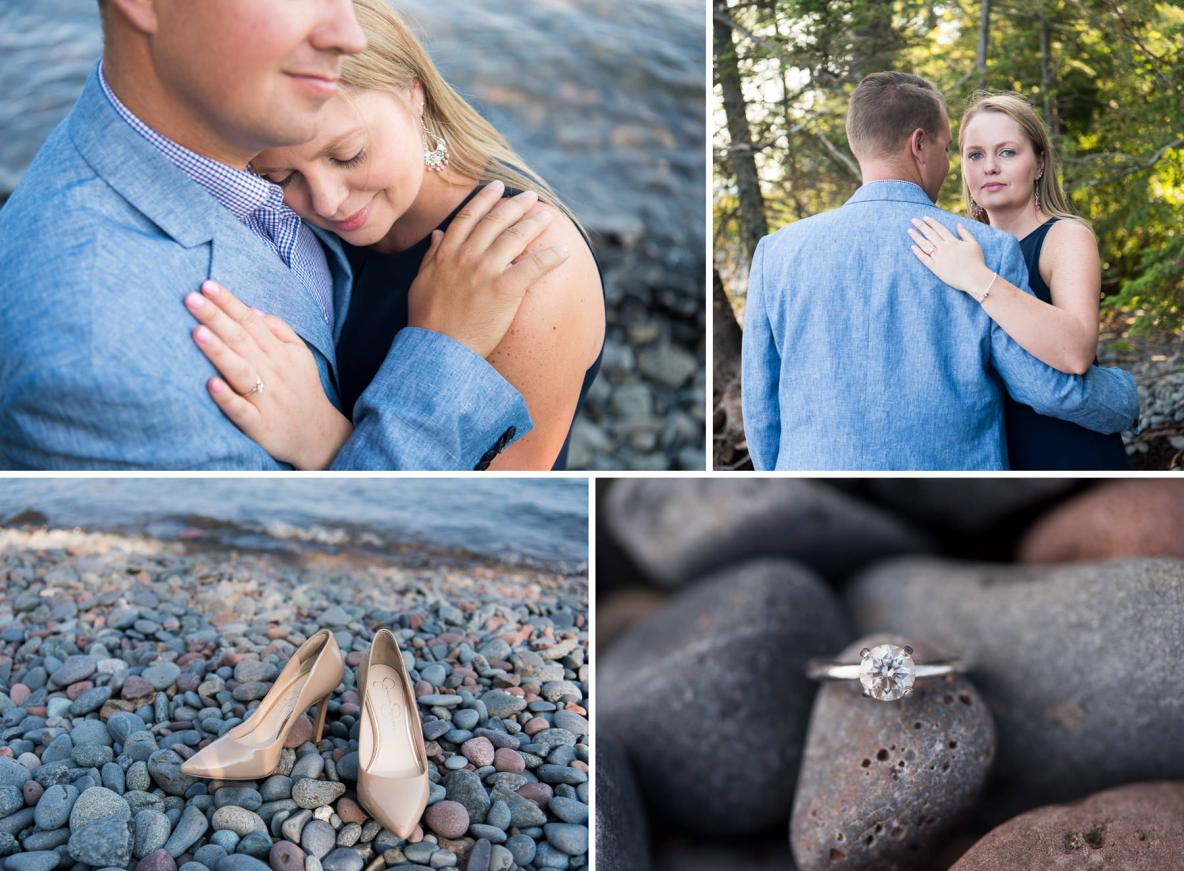 Couple photos outside, including photos of shoes and the engagement ring in nature with water in background.