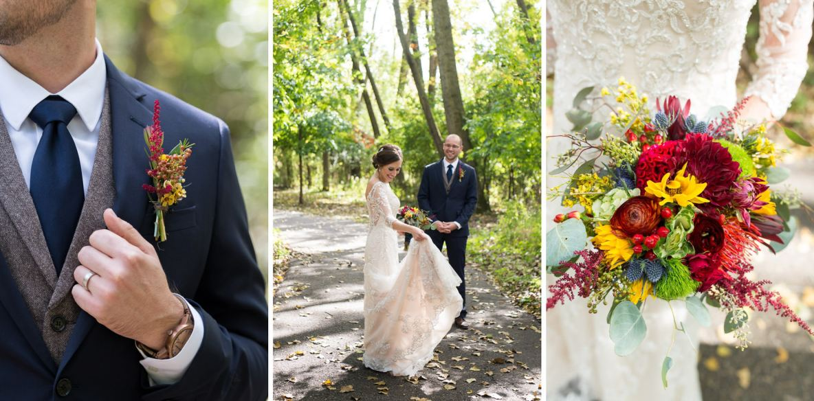 Bride and groom portraits on wedding day outside in nature with green trees in background.