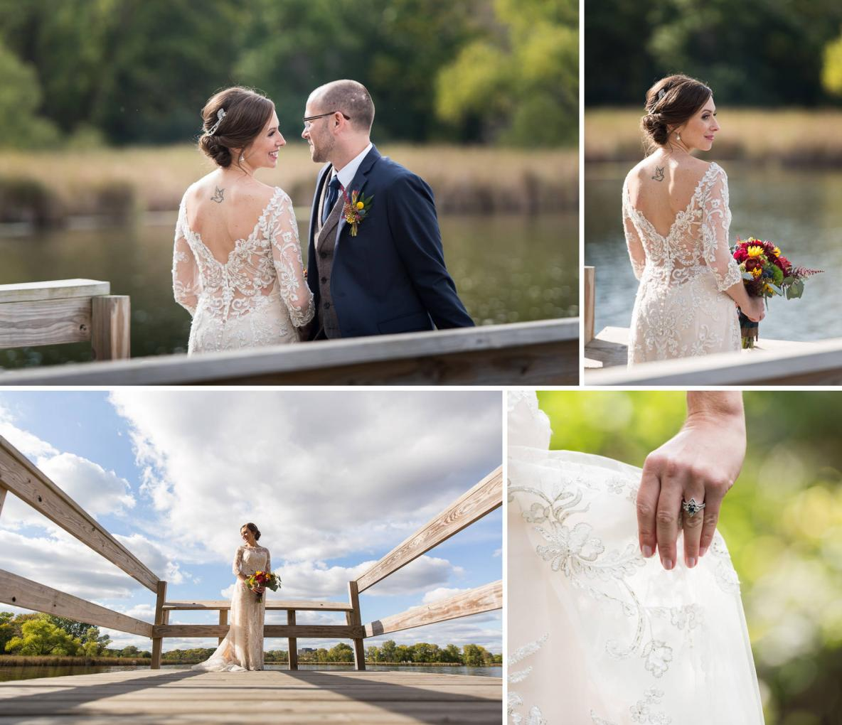 Bride and groom photos outside in nature with lake and blue sky in background.