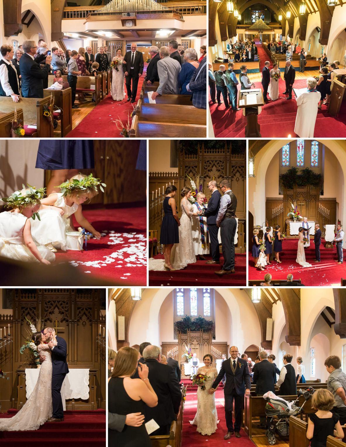 Photos of indoor wedding ceremony.