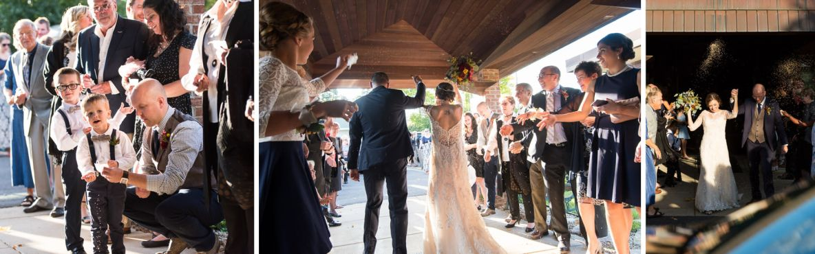 Photos of the bride and groom getting birdseed thrown at them as they leave.