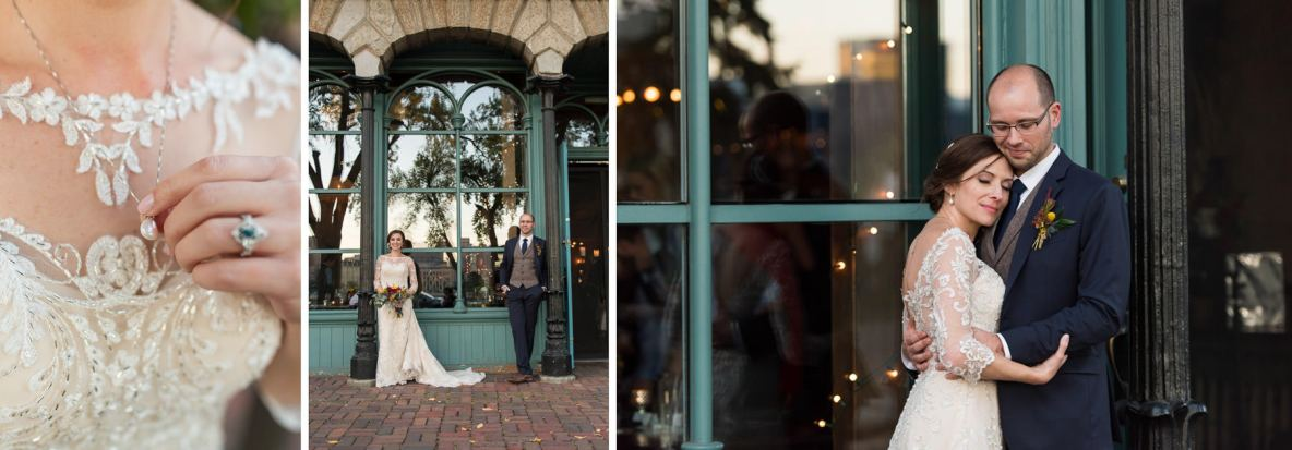Bride and groom portraits on the streets of Minneapolis, MN.