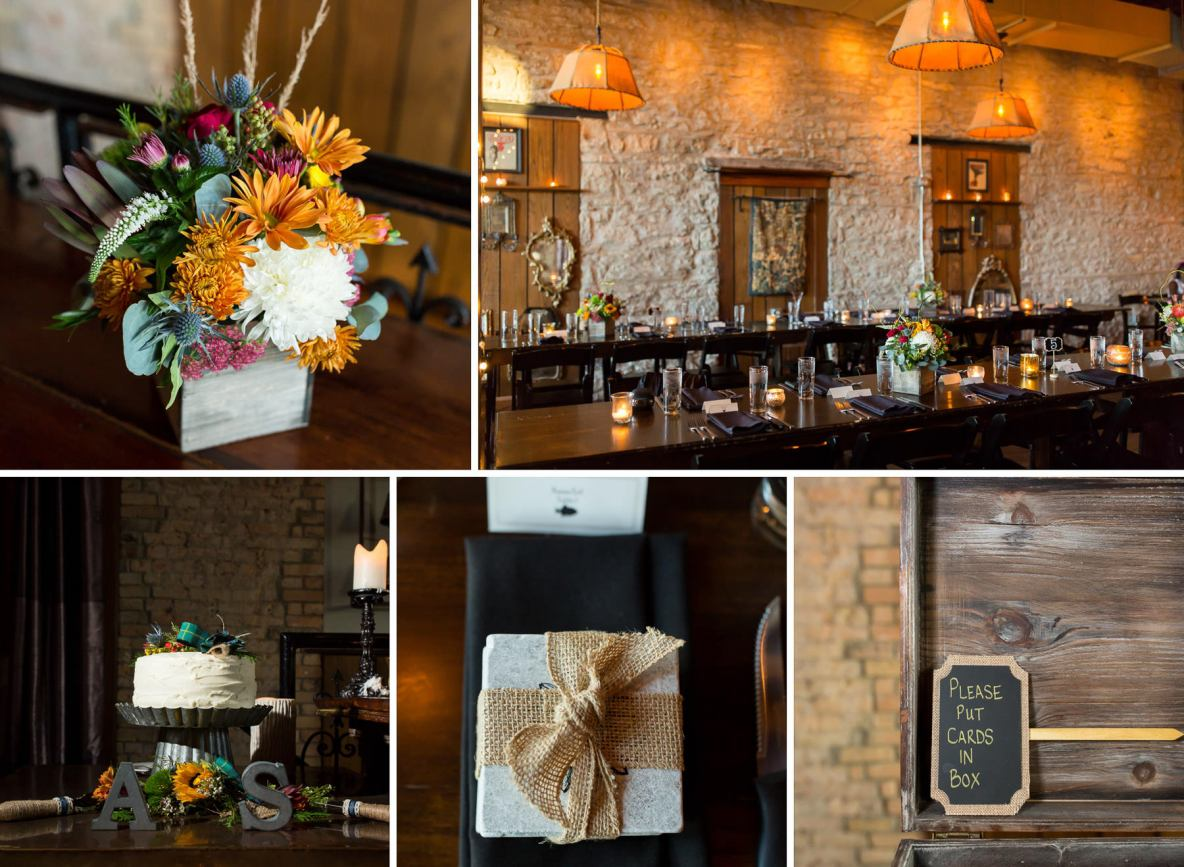 Details of the reception venue, including flowers and table set up.