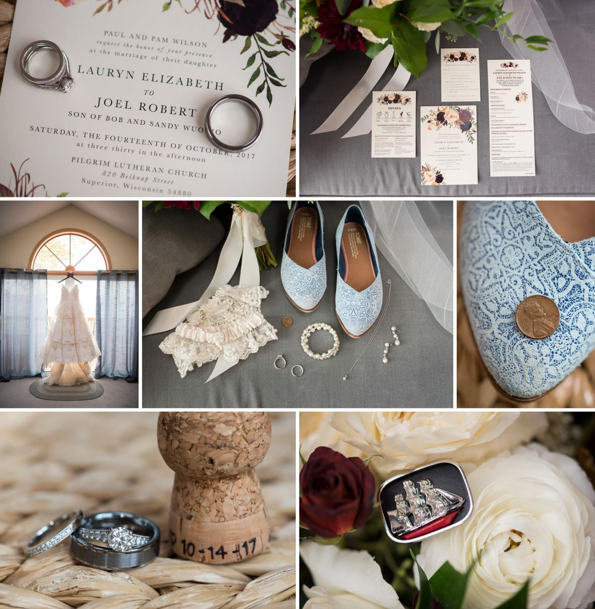 Photos of details of the wedding day, including shots of the rings, shoes, dress and more.