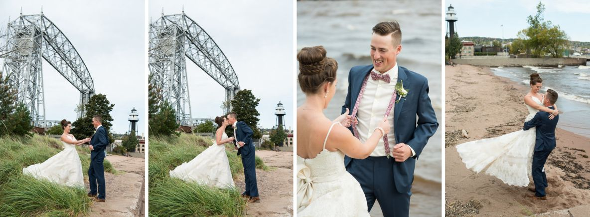 Bride and groom photos with the lift bridge and Lake Superior in background.