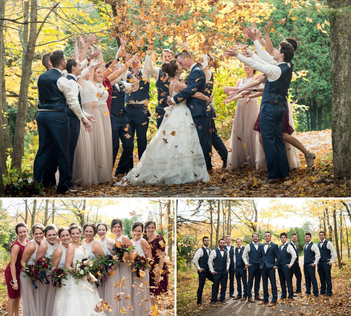 Wedding party outside in the fall colors.