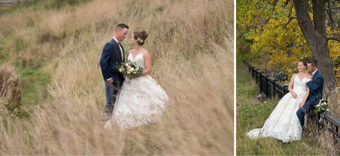 Bride and groom outside in the tall grass.