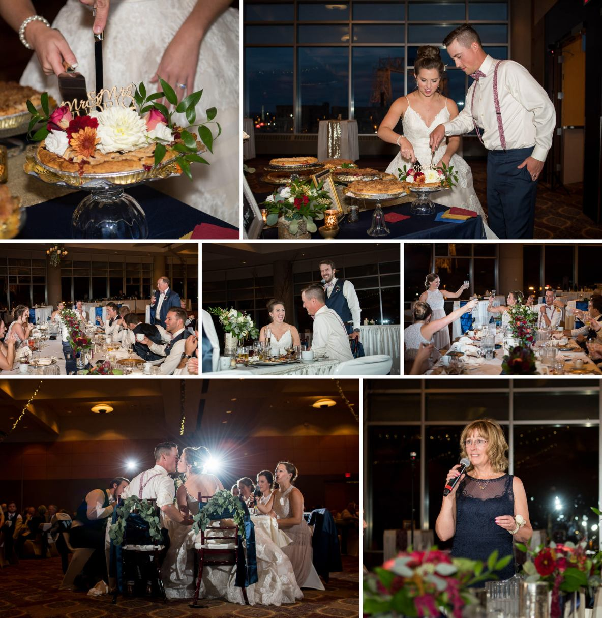 Bride and groom cut the cake at the wedding reception; speeches and kissing included.