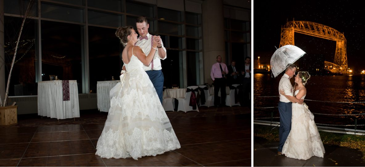 Bride and groom dancing with lift bridge in background.