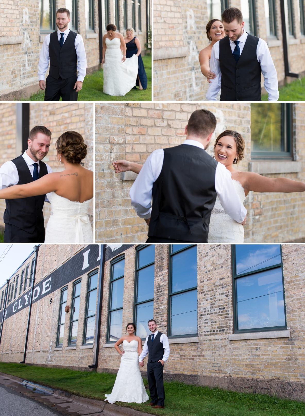 Photos of the bride and groom's first look.