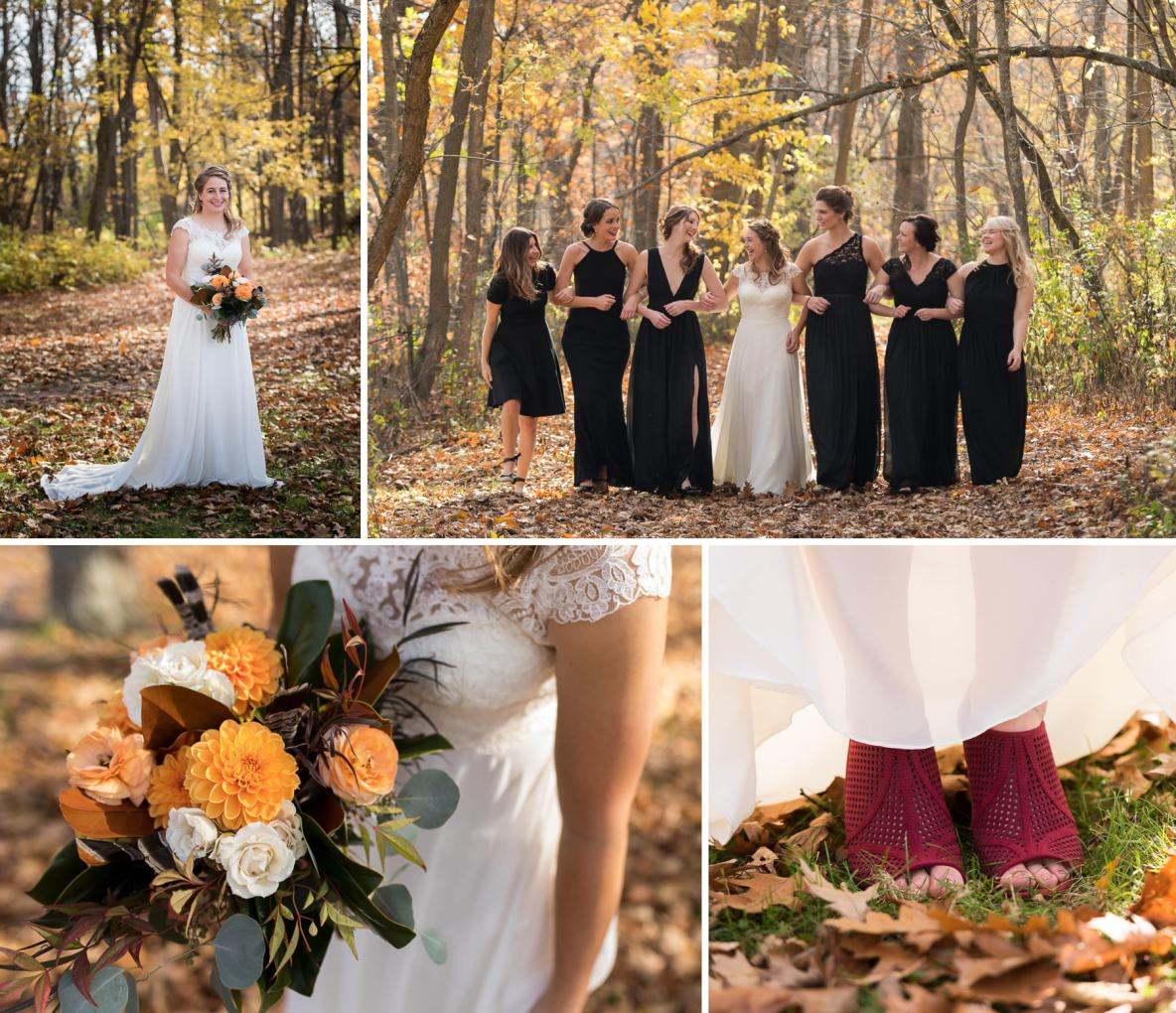 The bride and her bridesmaids out in the fall colors with flowers.