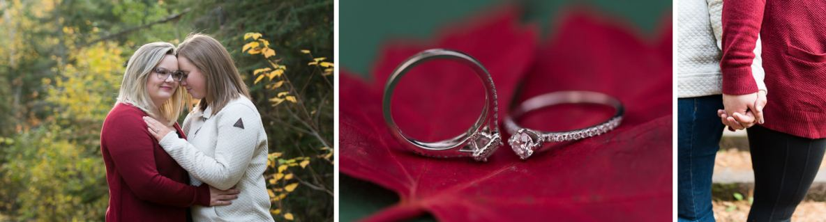 Engagement session outside in fall colors, including photos of engagement rings.