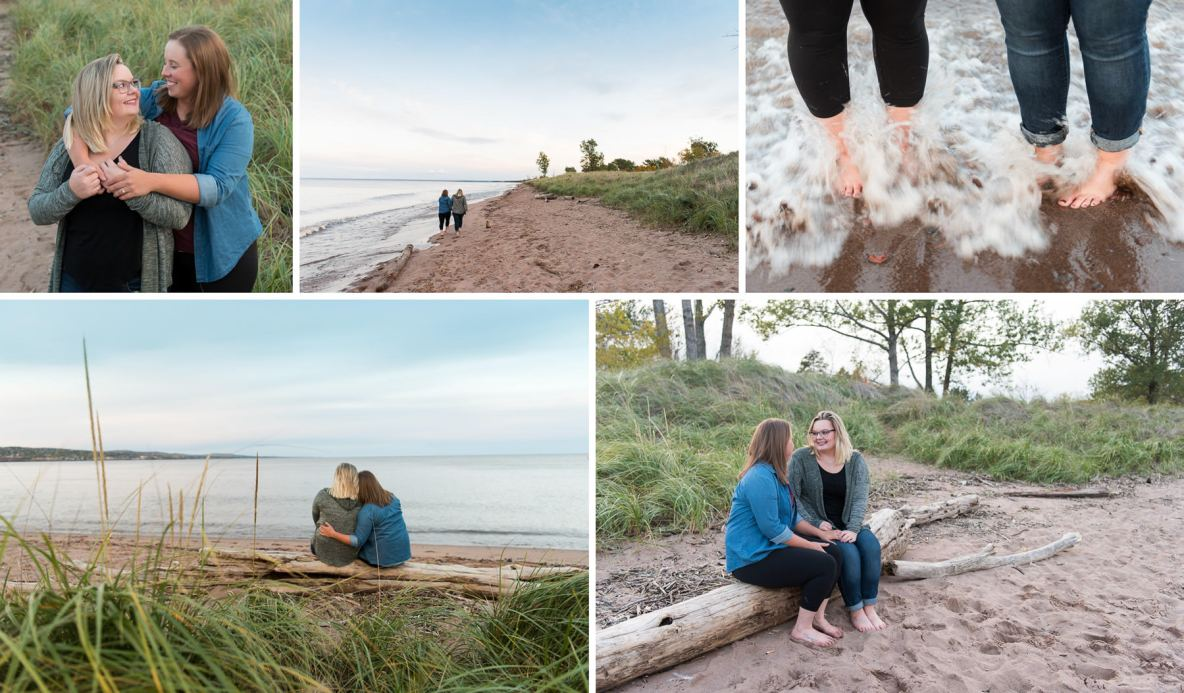 Engagement session beside the beach of Lake Superior.