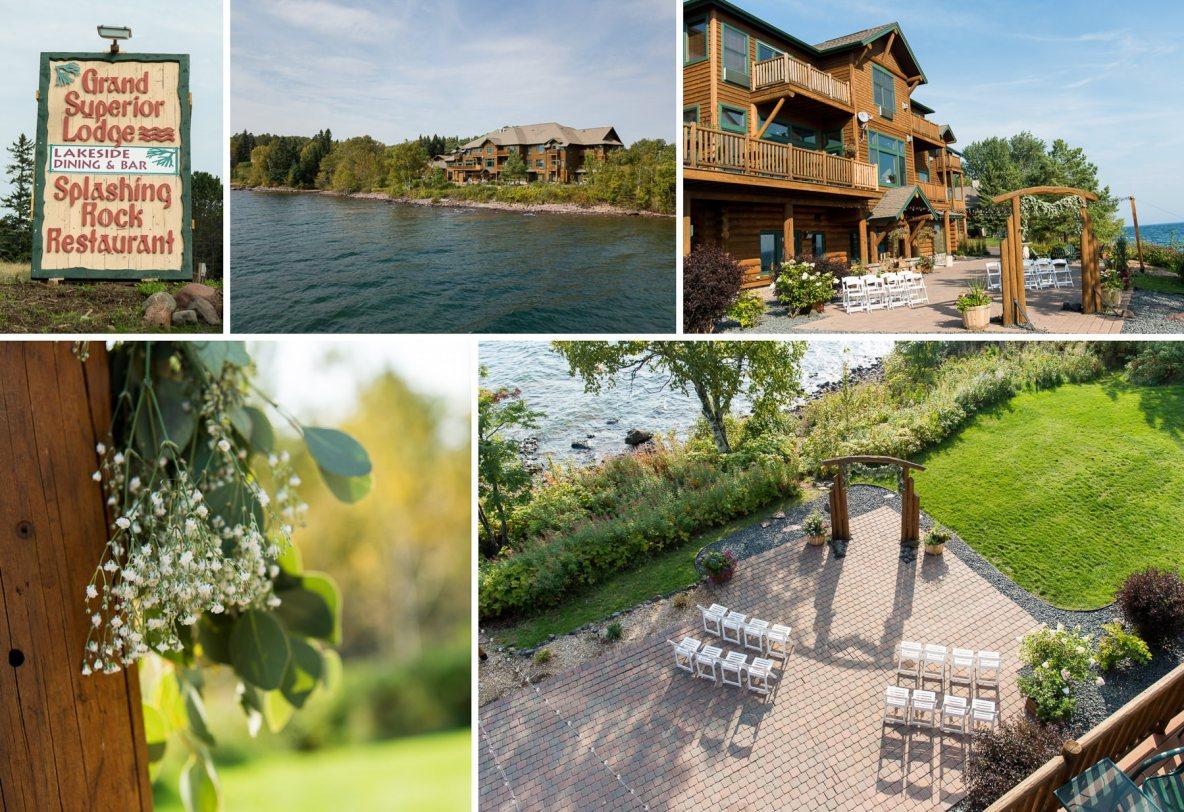 Photos of wedding venue beside Lake Superior.