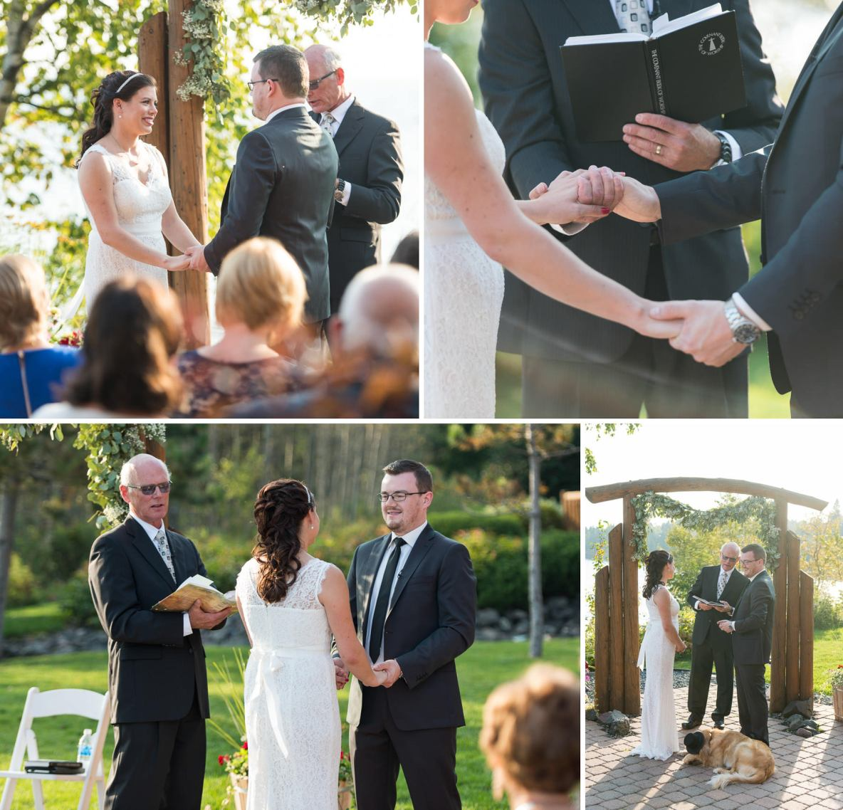 Photos of the intimate outdoor wedding ceremony beside the waters of Lake Superior.