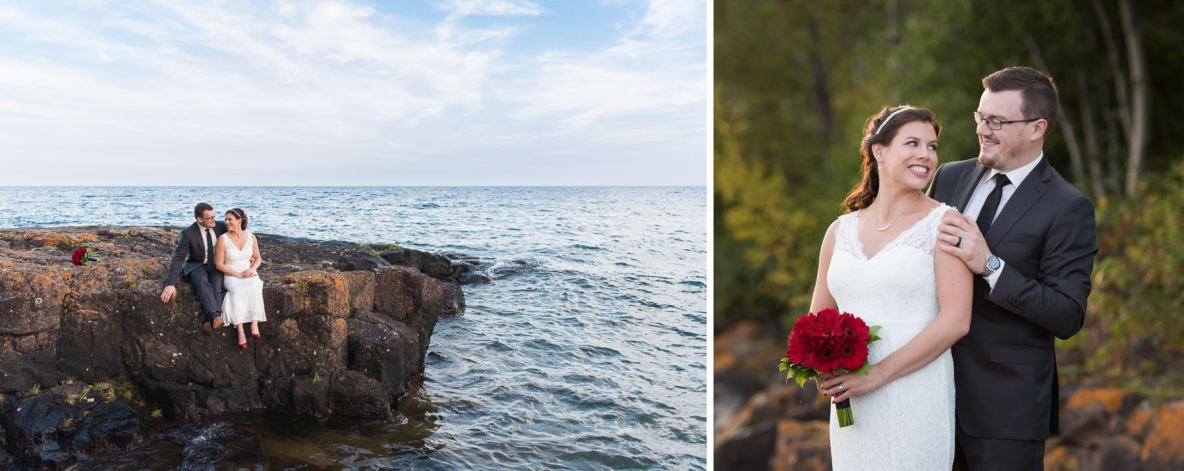 Photos of the bride and groom beside Lake Superior.
