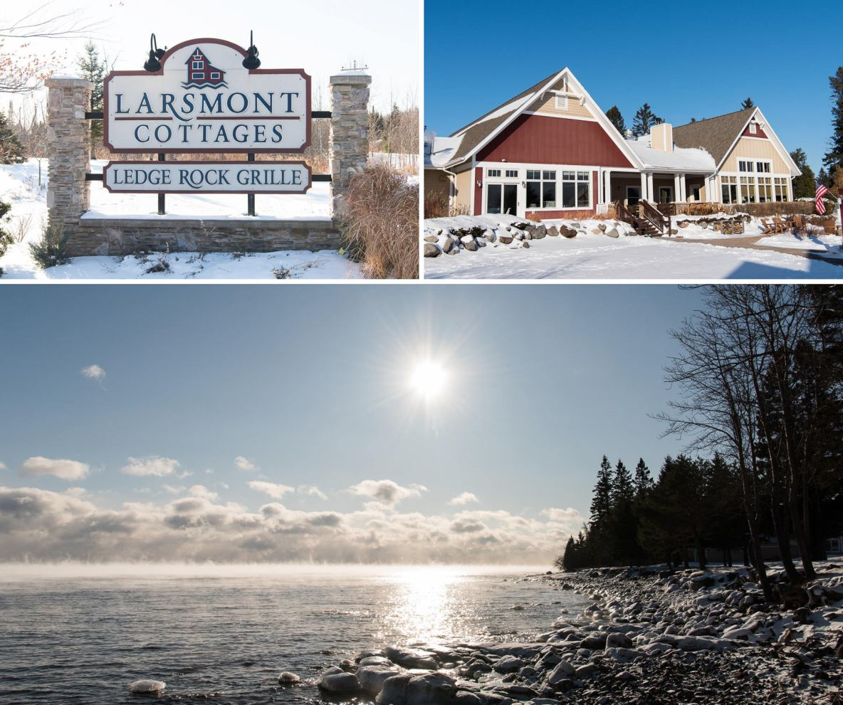 Photos of the wedding venue, Larsmont Cottages, and Lake Superior.