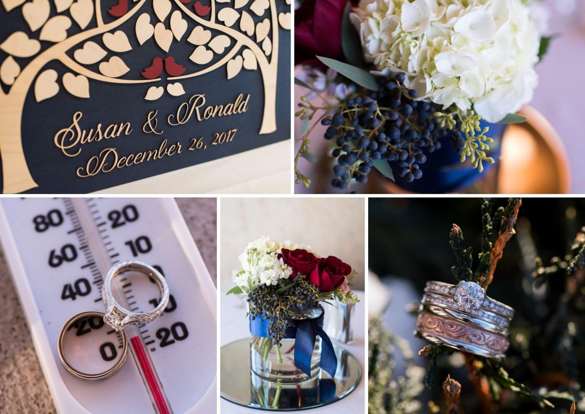 Details of the wedding, including photos of the rings and flowers.
